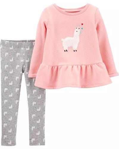 Carter's Baby 2-Piece Llama Fleece Peplum Top & Legging Set