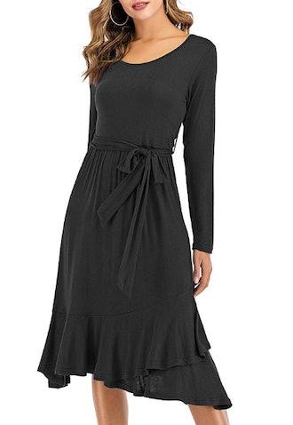 GUTGS Women's Plain Casual Belted Midi Dress