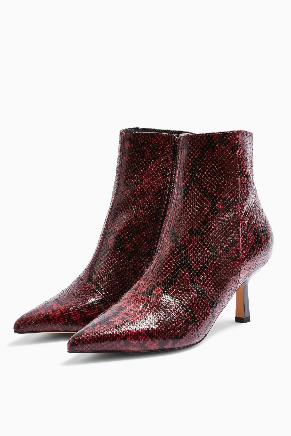 MACI Burgundy Snake Pointed Boots