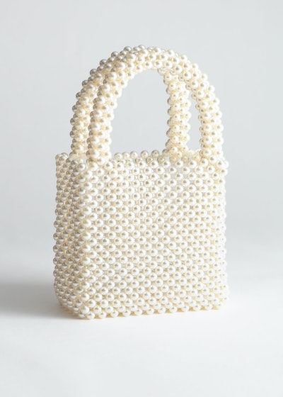 Pearlescent Beaded Clutch Bag