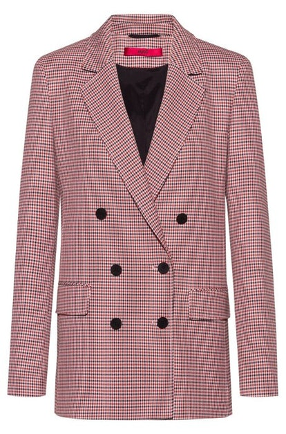 Double-breasted relaxed-fit jacket with micro-houndstooth motif