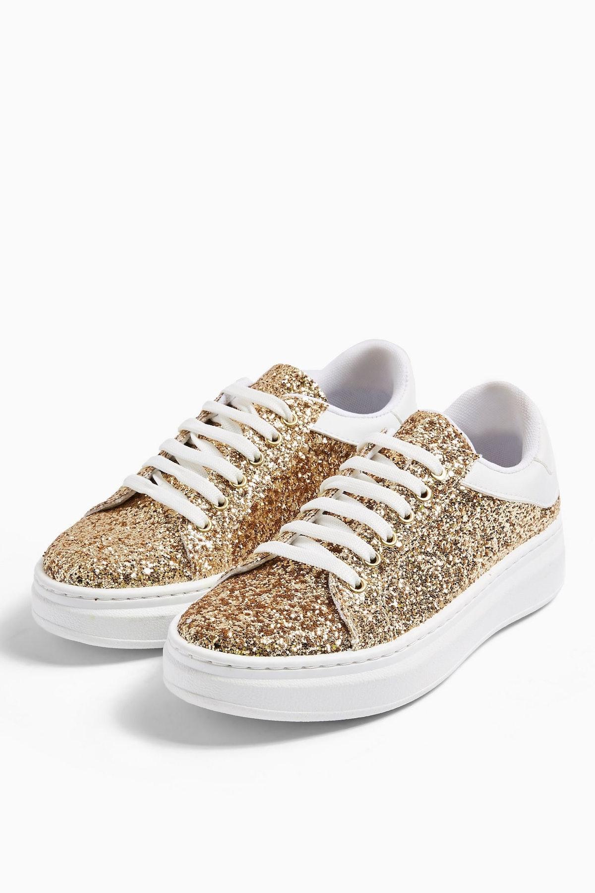 CUBA Gold Glitter Sneakers