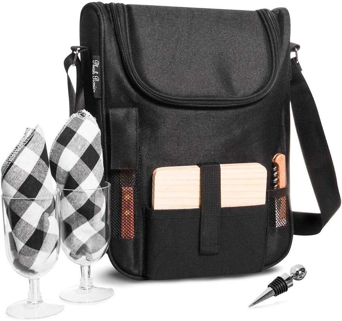 Plush Picnic Insulated Travel Wine Tote Bag