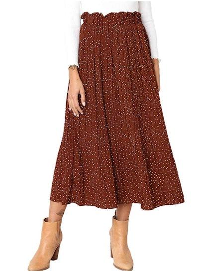 Exlura Womens High-Waist Polka Dot Pleated Skirt