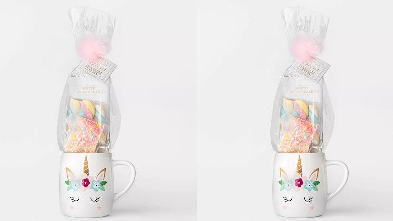 Target's Wondershop has a unicorn mug set that comes with white chocolate cocoa mix.