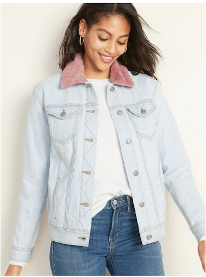 Detachable-Collar Boyfriend Jean Jacket
