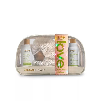 Raw Sugar Travel Bag Green Tea + Cucumber + Aloe Vera Bath and Body Gift Set