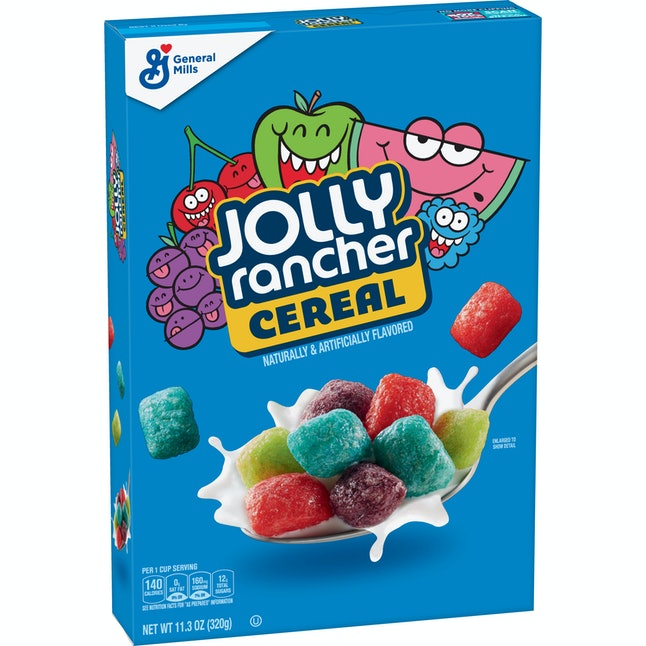 Post's Jolly Rancher Cereal includes classic flavors like blue raspberry, green apple, and watermelon.