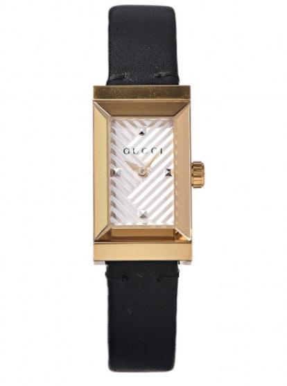 Stainless Steel Calfskin 14mm G-Frame Quartz Watch Gold