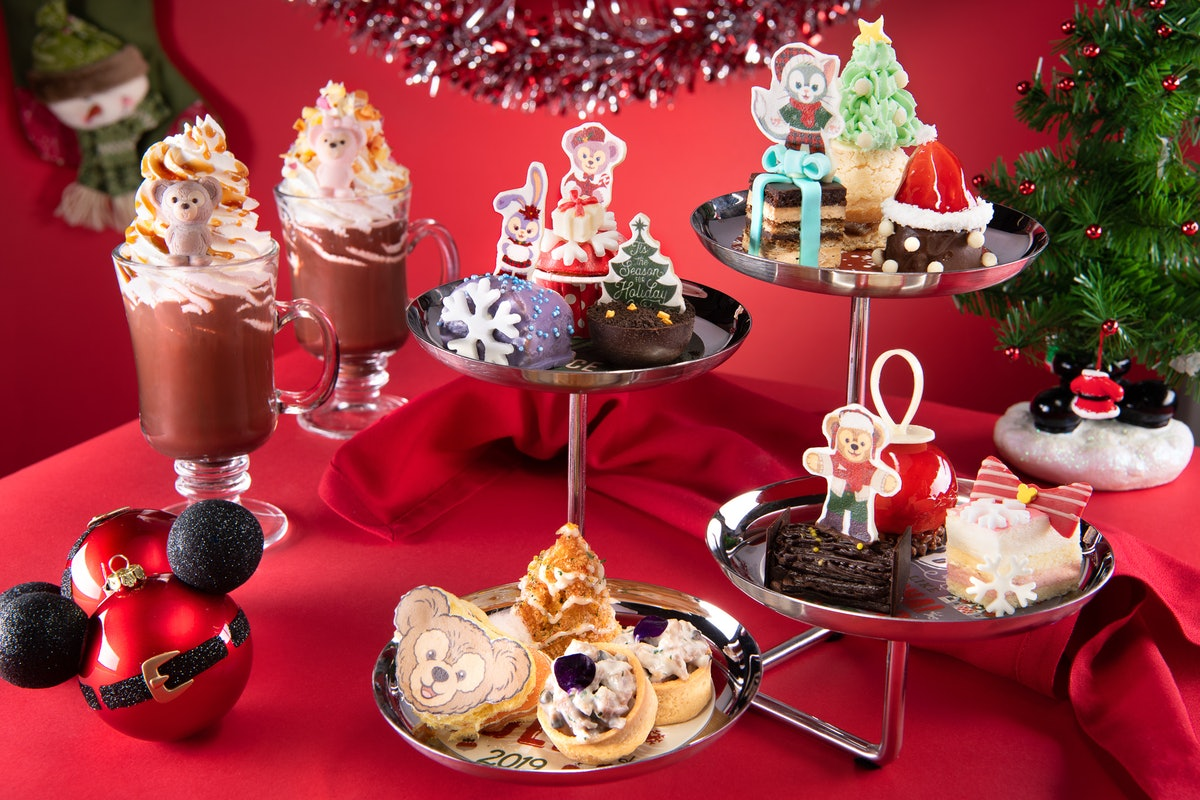 An assortment of Disney holiday treats and Duffy bear desserts are available at Shanghai Disneyland ...