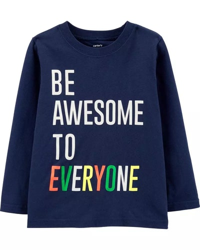 Carter's Baby Be Awesome To Everyone Jersey Tee (Navy)