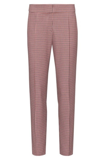Slim-fit pants with micro-houndstooth pattern