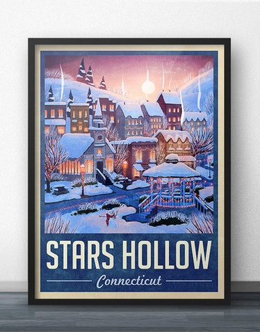 Stars Hollow Winter Holiday Travel Poster