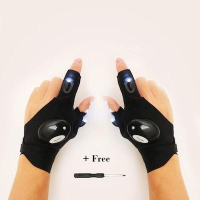 NOSUBO Fingerless LED Flashlight Cycling Gloves