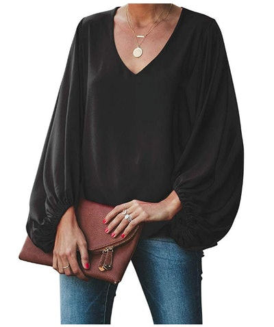 BELONGSCI Women's Casual Balloon Sleeve Top