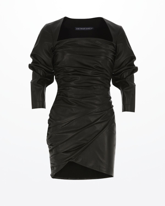 Draped Mini Leather Dress Black