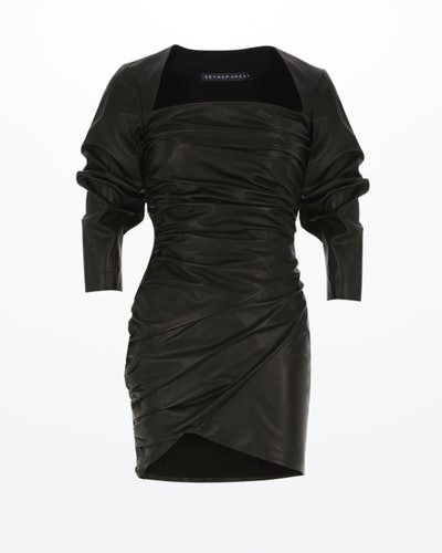 Draped Mini Leather Dress Black