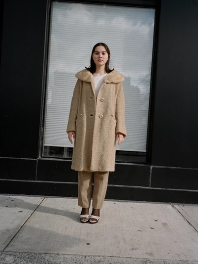 Latte Fur-Trim Vintage Coat