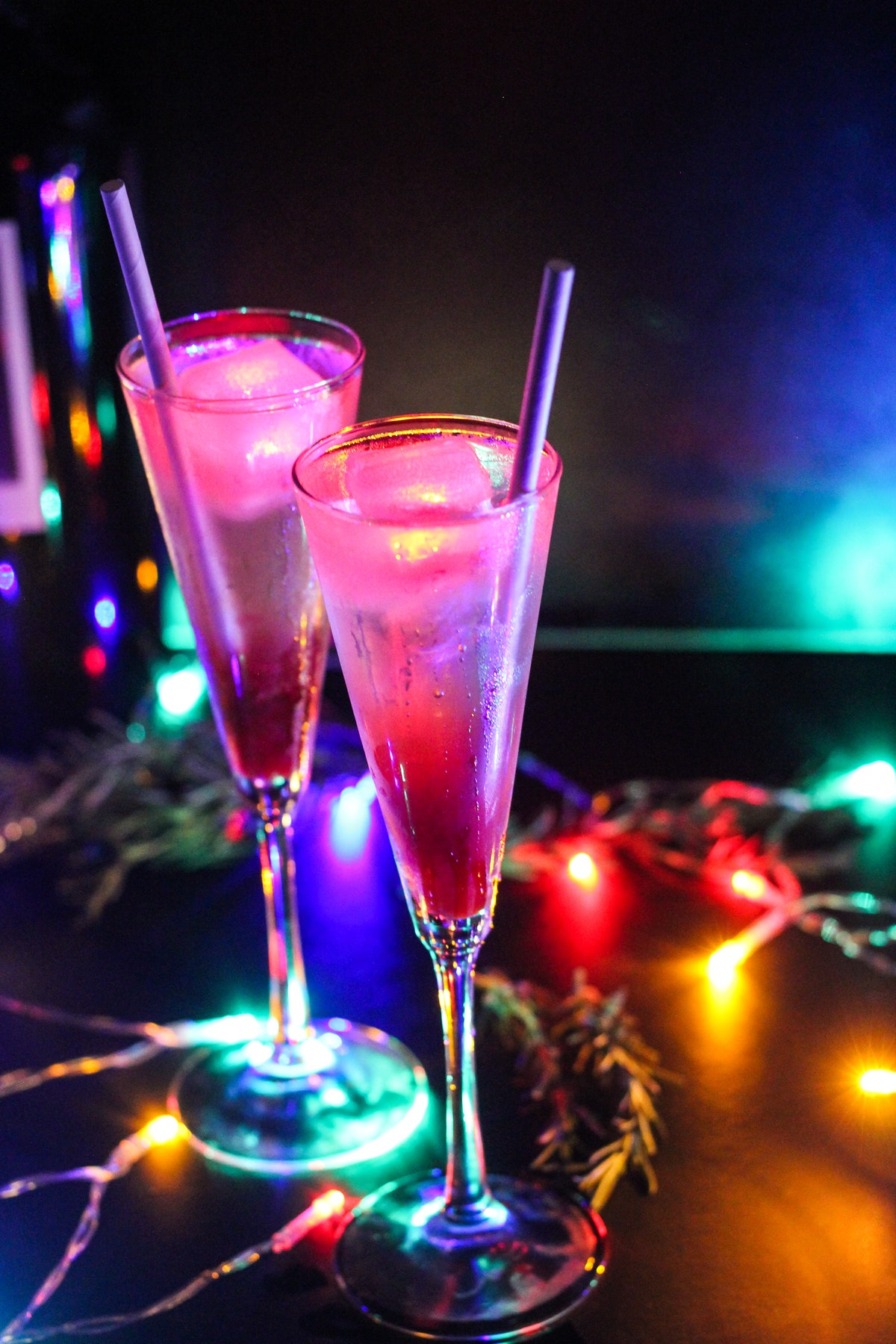 The Glow Spritz cocktail surrounded by Christmas lights is one of the drinks offered at Disneyland a...