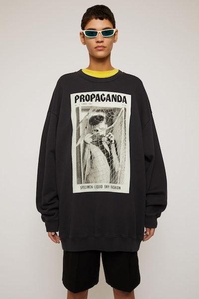 Magazine-print sweatshirt faded black