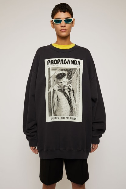 Magazine-print sweatshirt faded black