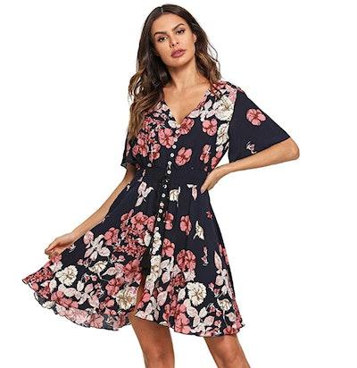 Milumia Women's Boho Button Up Dress