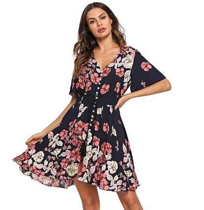 Milumia Women's Boho Button Up Dress