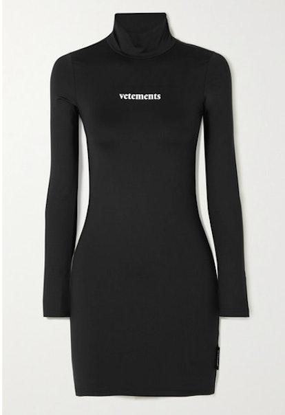 Printed Stretch-Jersey Turtleneck Mini Dress