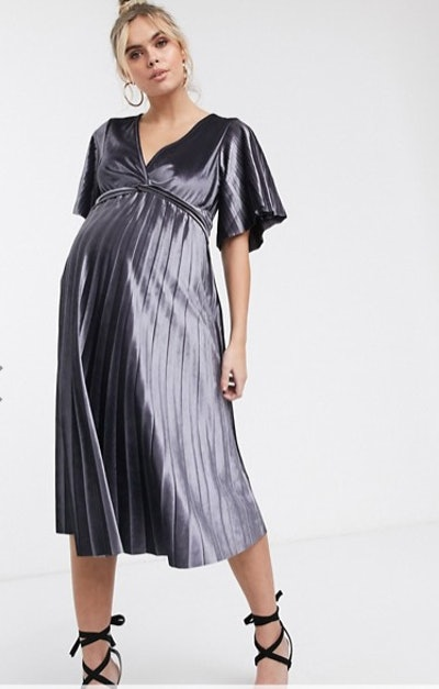 ASOS DESIGN maternity Twist Front Velvet Midi Dress
