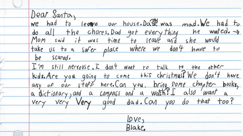 A mother found her 7-year-old son's letter to Santa and it was heartbreaking.