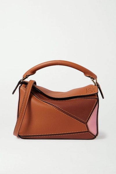 Puzzle Mini Color-Block Textured-Leather Shoulder Bag
