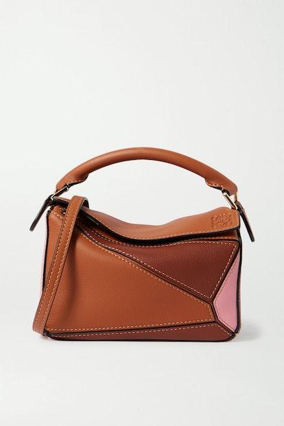 Puzzle Mini Color-Block Textured-Leather Shoulder Bag