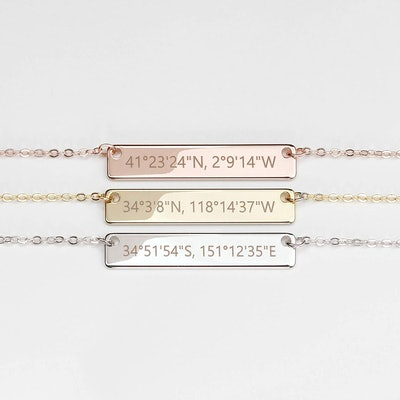 Hand Stamped Custom Coordinates Necklace in Gold Silver Rose Gold