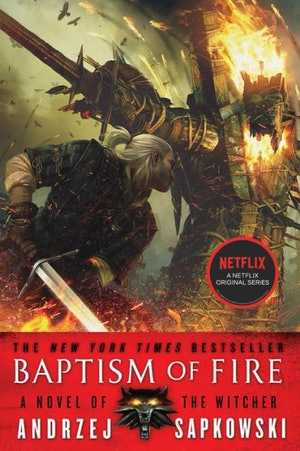 The 'Baptism of Fire' cover from 'The Witcher' series