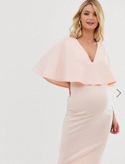 Maternity Nursing Cape Double Layer Bodycon Midi Dress
