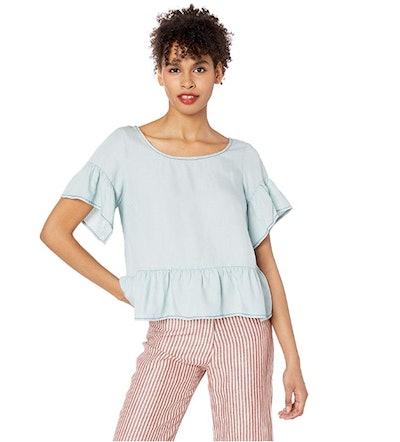 BB Dakota Women's Ruffle and Ready Linen Tencel Top