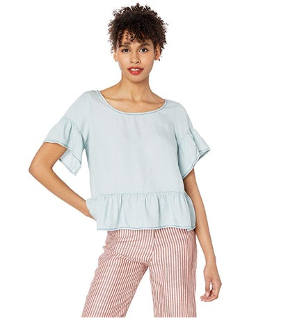 BB Dakota Women's Ruffle and Ready Linen Tencel Top