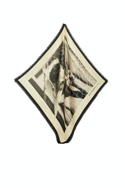 Magazine-print silk scarf champagne beige
