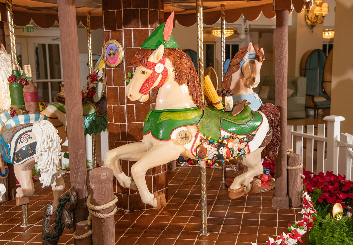A 'Peter Pan'-themed gingerbread carousel with chocolate horses is on display at Disney's Beach Club...