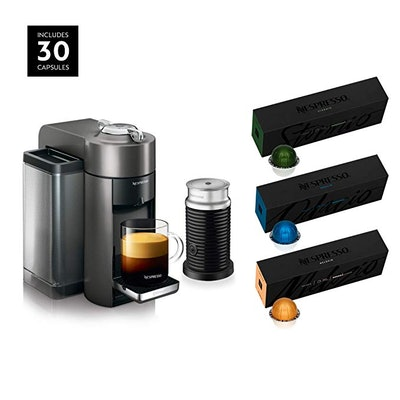 Nespresso Vertuo Coffee and Espresso Machine Bundle by De'Longhi with Aeroccino Milk Frother