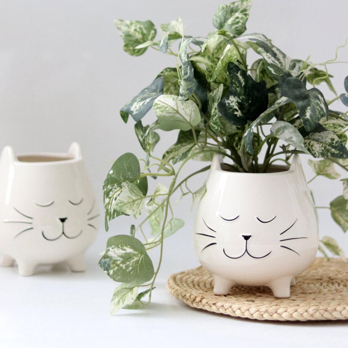 Ceramic Cat Planter For Succulents