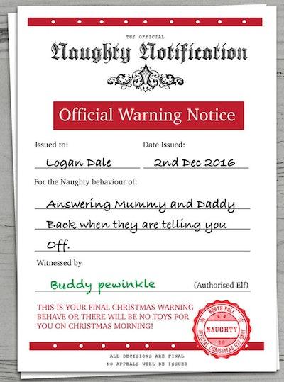 Naughty List Christmas Warning Letter Certificate From Santa