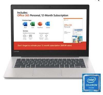 "Lenovo Ideapad 130s 14.0"" Laptop, Intel Celeron N4000 Dual-Core Processor, 4GB Memory, 64GB Storage, Office 365 1 Year Subscription, Windows 10, Mineral Grey"