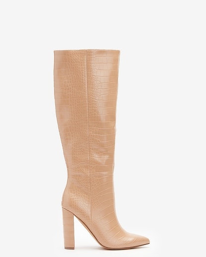 """Embossed Block Heel Boots in """"Pecan"""""""