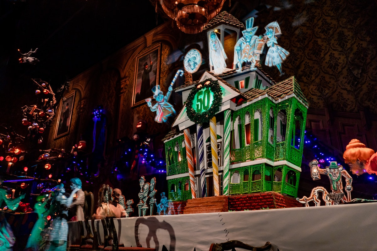The Haunted Mansion gingerbread house is on display at the ride in Disneyland for the 2019 holiday s...