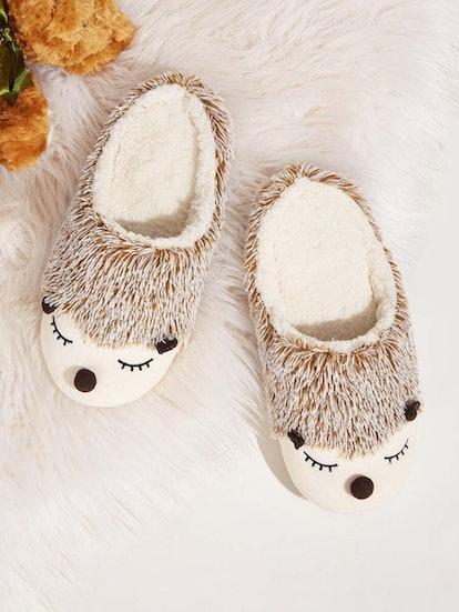 Hedgehog Design Faux Fur-Lined Slippers