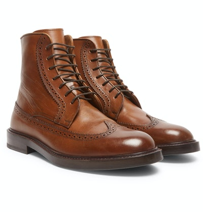 Brunello Cucinelli Leather Brogue Boots