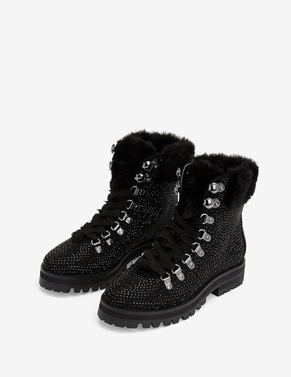 Rhinestone Embellished Faux Fur Combat Boots