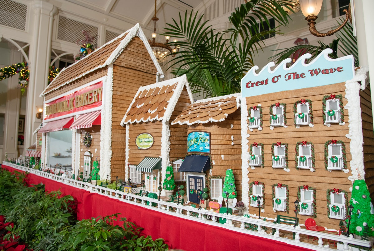 The gingerbread boardwalk with shops and restaurants is on display at the Disney's Boardwalk Resort ...