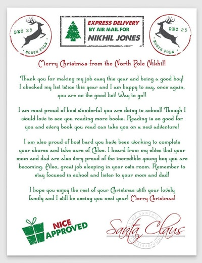 Christmas Morning Nice List Approved Letter